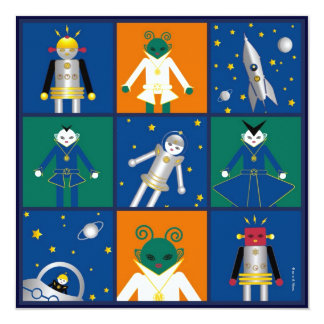 "Martzkins In Outer Space Birthday Party Invitation 5.25"" Square Invitation Card"