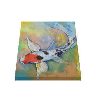 Maruten Butterfly Koi Painting Canvas Print