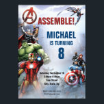 "Marvel | Avengers - Birthday Invitation<br><div class=""desc"">Avengers assemble for the party of the century with this cool birthday party invitation! Featuring Hulk, Captain America, Black Widow and all of your favorite Marvel characters, this awesome comic style print will ensure that your guests RSVP yes to your action hero themed party! Kids and adults young at heart...</div>"