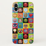 Marvel Emoji Characters Grid Pattern iPhone X Case