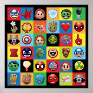 Marvel Emoji Characters Grid Pattern Poster