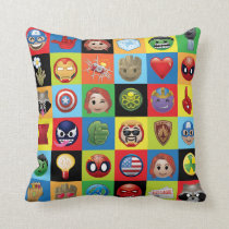 Marvel Emoji Characters Grid Pattern Throw Pillow