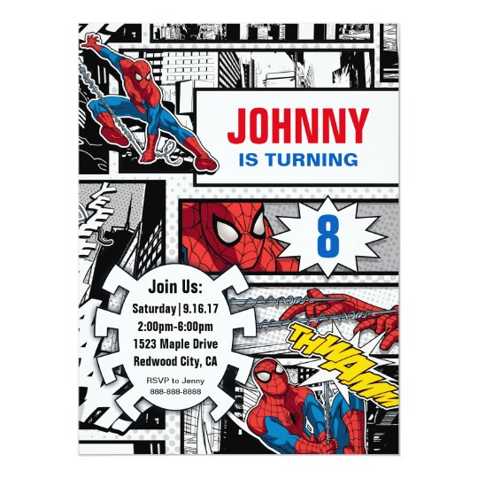 Marvel Spiderman Birthday Invitation Zazzle Com