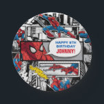 "Marvel | Spiderman - Birthday Paper Plate<br><div class=""desc"">Find the ultimate Spiderman design for your birthday theme with this colorful graphic from Marvel. A comic panel style with vintage, retro &quot;Spidey&quot; art. A superhero styled happy birthday that can be customized for an amazing treat for your kids birthday. Featuring the webcrawler in action, probably just after defeating Vulture...</div>"