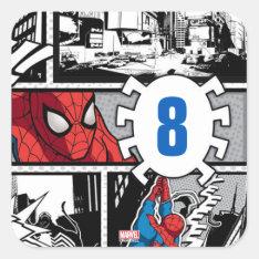 Marvel | Spiderman - Birthday Square Sticker at Zazzle