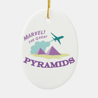 Marvel! The Great Pyramids Double-Sided Oval Ceramic Christmas Ornament