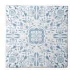 """Marvellous Vintage Blue Pattern Ceramic Tile<br><div class=""""desc"""">Inspired by vintage patterns and beautiful Dutch tiles - a hand painted watercolour pattern , each detail sat and lovingly painted by hand. It was then cleaned up and manipulated to become a repeat tile pattern. This is a larger scale version of the Marvellous pattern, check in store for mixed...</div>"""