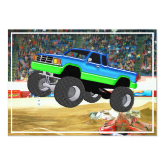 Marvelous Monster Truck in the Arena 5x7 Paper Invitation Card
