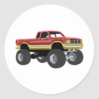 Marvelous Monster Truck Red & Gold Classic Round Sticker