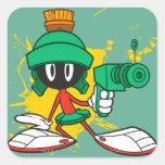Marvin con el arma calcomania cuadradas personalizadas