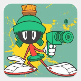 Marvin con el arma pegatina cuadrada