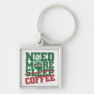 MARVIN el MARTIAN™ - necesite más café Llavero Cuadrado Plateado