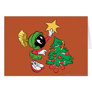 MARVIN EL MARTIAN™ que pone la estrella en árbol Tarjeta De Felicitación