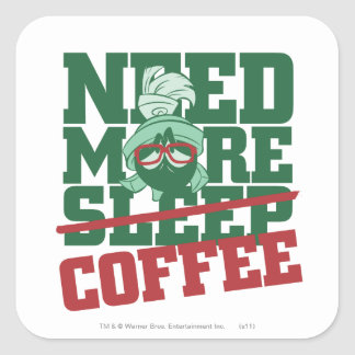 MARVIN THE MARTIAN™ - Need More Coffee Square Sticker