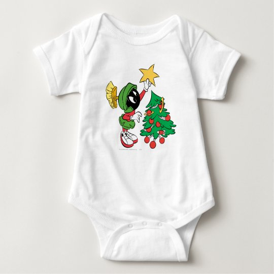 MARVIN THE MARTIAN™ putting star on tree Baby Bodysuit