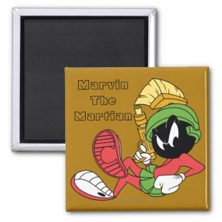 MARVIN THE MARTIAN™ Reclining With Laser 2 Inch Square Magnet