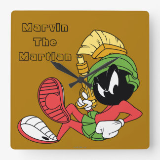 MARVIN THE MARTIAN™ Reclining With Laser Square Wall Clock