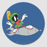 MARVIN THE MARTIAN™ Riding Rocket Classic Round Sticker