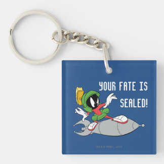 MARVIN THE MARTIAN™ Riding Rocket Double-Sided Square Acrylic Keychain
