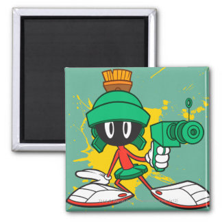Marvin With Gun 2 Inch Square Magnet