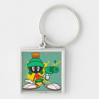 Marvin With Gun Silver-Colored Square Keychain