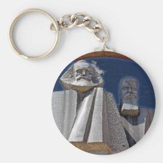 Marx and Engels Basic Round Button Keychain