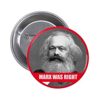 Marx tenía razón pin redondo de 2 pulgadas