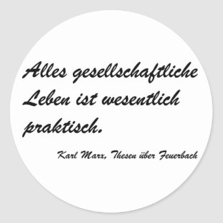 Marx theses Feuerbach Classic Round Sticker