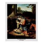 Mary Adoring The Child By Correggio Poster