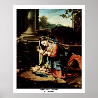 Mary Adoring The Child By Correggio Poster