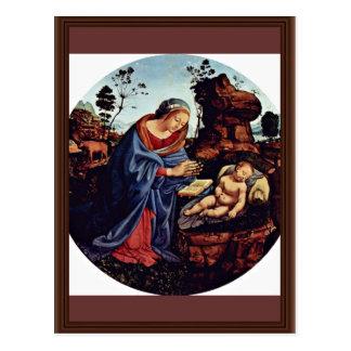 Mary Adoring The Child Tondo By Piero Di Cosimo (B Postcard