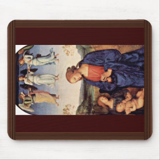 Mary Adoring The Child With The Archangel Gabriel Mouse Pad