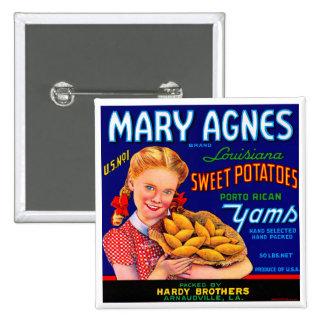 Mary Agnes Louisiana Yams Pinback Button