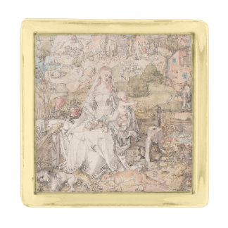 Mary Among a Multitude of Animals by Durer Gold Finish Lapel Pin