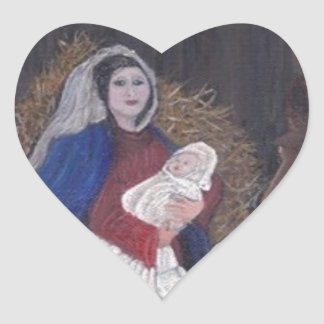 Mary and Baby Jesus Heart Sticker