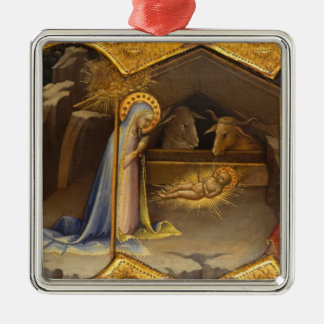 Mary and baby Jesus in Manger Metal Ornament