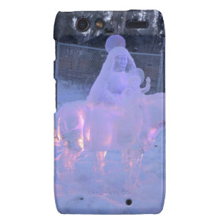 Mary And Baby Jesus Night Snow Winter Sculpture Droid RAZR Cover
