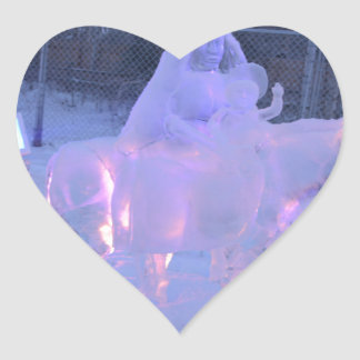 Mary And Baby Jesus Night Snow Winter Sculpture Heart Sticker