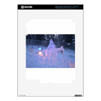 Mary And Baby Jesus Night Snow Winter Sculpture iPad 3 Decals