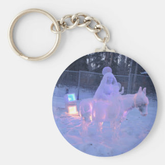 Mary And Baby Jesus Night Snow Winter Sculpture Keychain