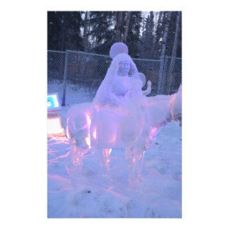 Mary And Baby Jesus Night Snow Winter Sculpture Customized Stationery