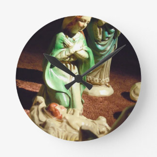 Mary and Baby Jesus Round Clock