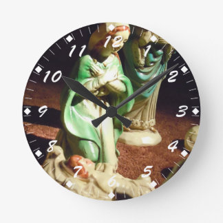 Mary and Baby Jesus Round Clock