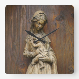 Mary And Baby Jesus Square Wall Clock