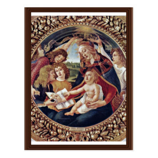 Mary And Christ Child And Five Angels Tondo Postcard