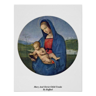 Mary And Christ Child Tondo By Raffael Posters