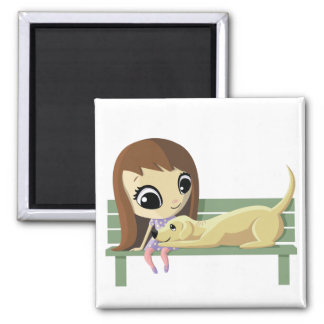 Mary and Crouton the Dog 2 Inch Square Magnet