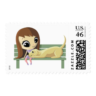Mary and Crouton the Dog Postage Stamp