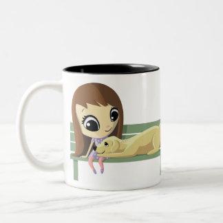 Mary and Crouton the Dog Two-Tone Coffee Mug