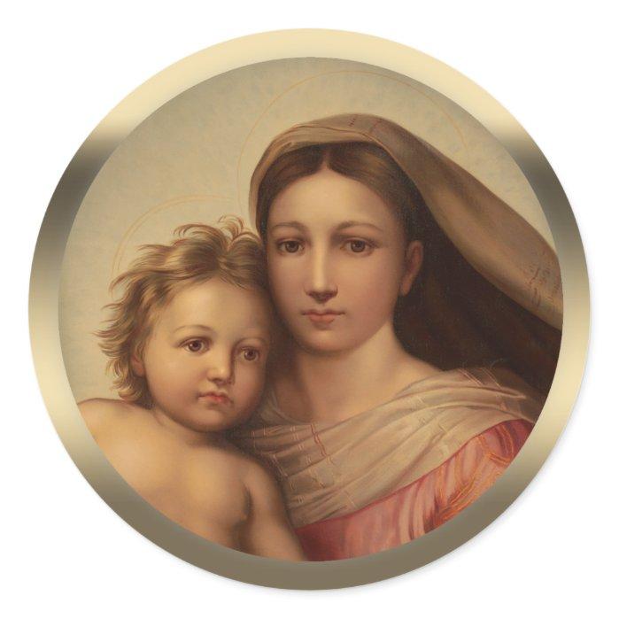 Mary and Jesus child Sistine madonna Prang CC0970 Classic Round Sticker